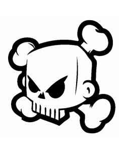 Teschio Block Skull - Adesivo Prespaziato