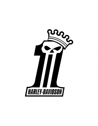 Numero 1 Harley Davidson Teschio - Adesivo Prespaziato