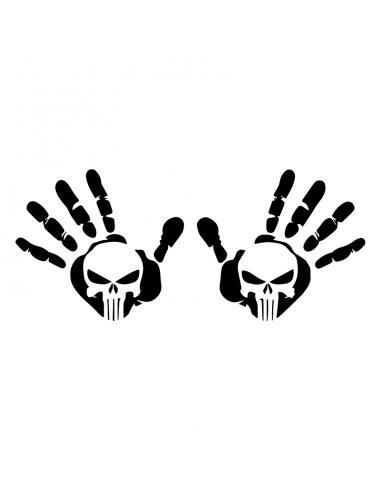 Coppia Mani con Teschio - Adesivo Prespaziato