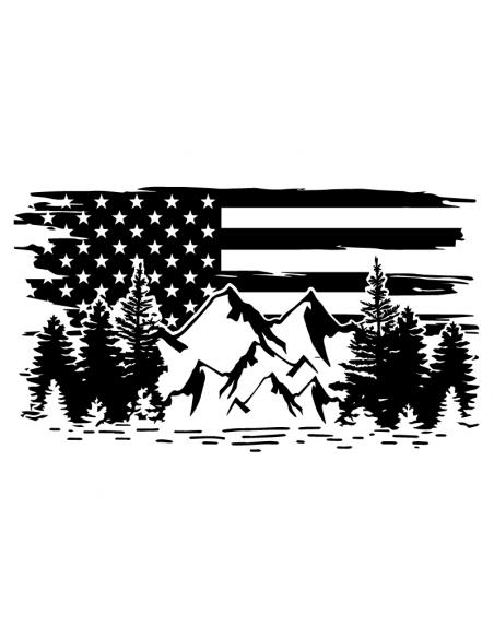 Bandiera USA Montagne Alberi - Adesivo Prespaziato