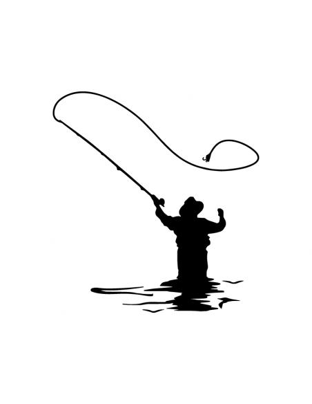 Pescatore Spinning - Adesivo Prespaziato