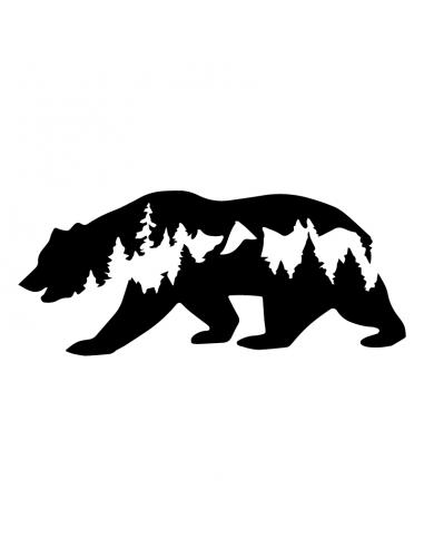 Orso Montagne - Adesivo Prespaziato
