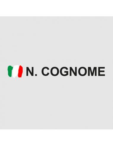 Nome Cognome Rally + Bandiera Graffio - Adesivo Prespaziato