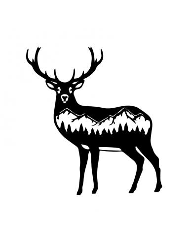 Cervo con Montagne 1 - Adesivo Prespaziato