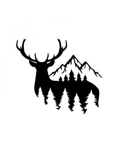 Cervo con Montagne 2 - Adesivo Prespaziato
