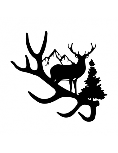 Cervo con Montagne 3 - Adesivo Prespaziato