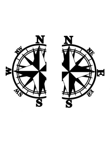 Coppia Rosa dei Venti divisa - Adesivo Prespaziato