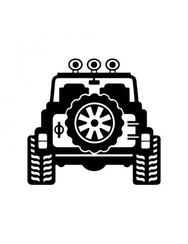 Retro Jeep Fuoristrada - Adesivo Prespaziato