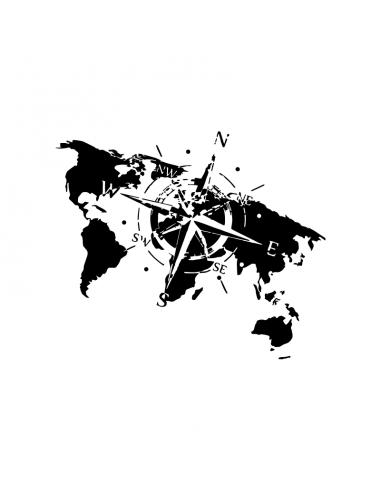 Mappa del Mondo Rosa Venti - Adesivo Prespaziato