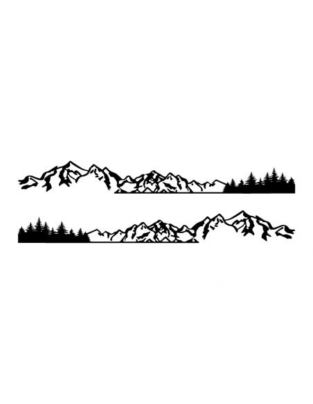 Coppia Long Montagne Pini - Adesivo Prespaziato