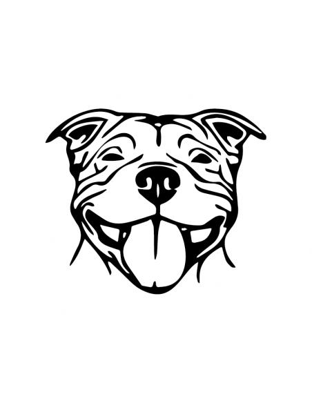 Staffordshire Bull Terrier Faccia - Adesivo Prespaziato