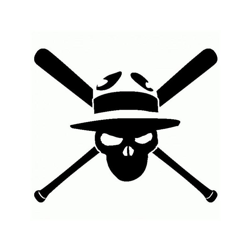 Teschio con mazze da Baseball - Adesivo Prespaziato