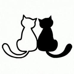 Coppia di Gatti - Adesivo Prespaziato