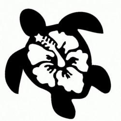 Tartaruga con Fiore Hawaii - Adesivo Prespaziato
