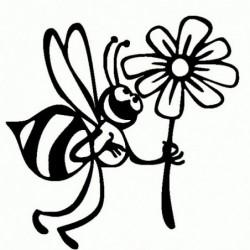 Ape con fiore - Adesivo Prespaziato