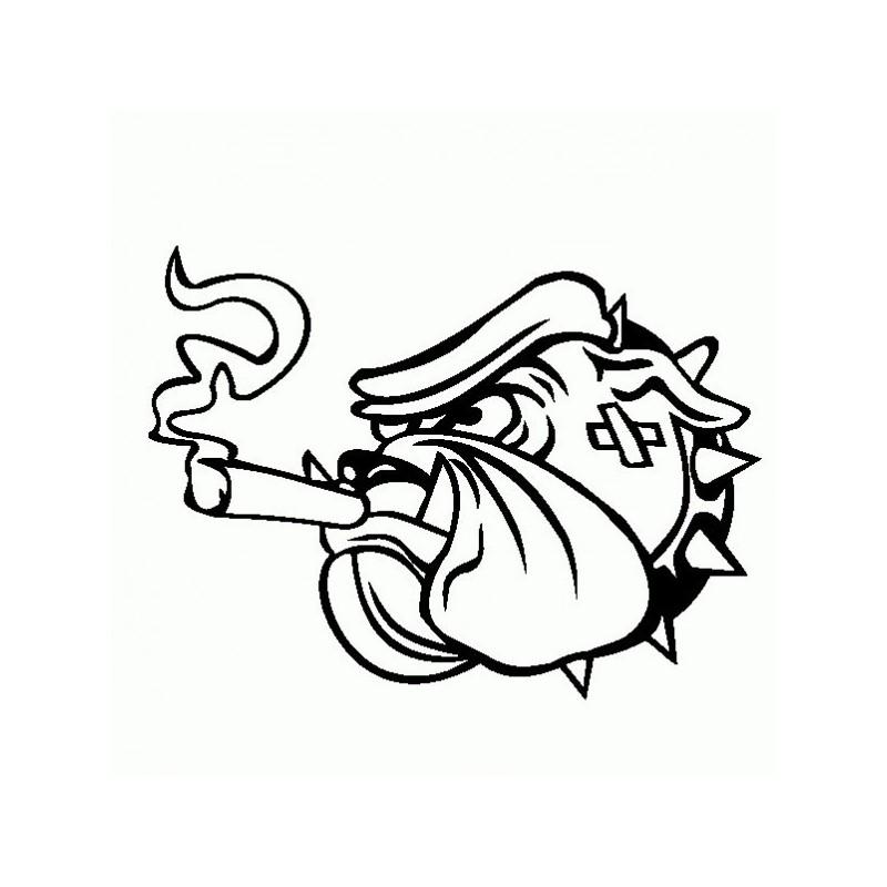 Bulldog Sigaro - Adesivo Prespaziato