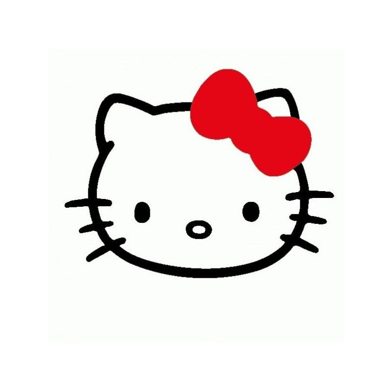 Hello Kitty con Fiocco - Adesivo Prespaziato